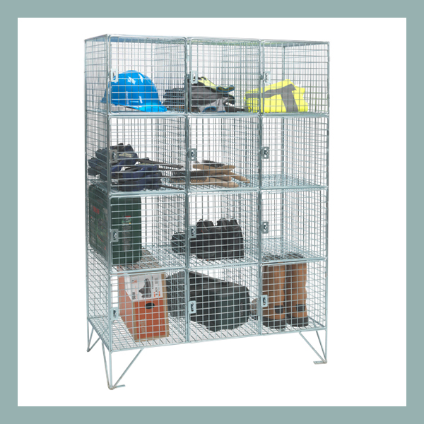12 Compartment Mesh Locker with Doors
