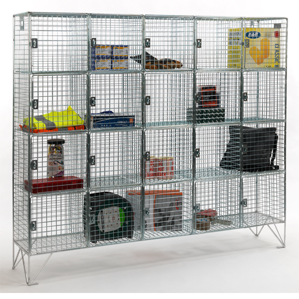 20 Compartment Wire Mesh Lockers with Doors