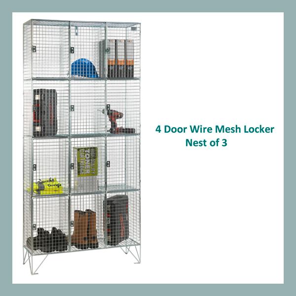 4-Door-Wire-Mesh-Locker-Nest-of-3