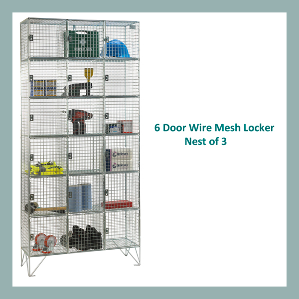 6-Door-Wire-Mesh-Locker-Nest-of-3