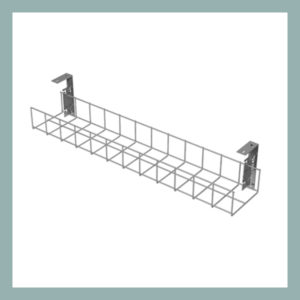 Cable-Tray-with-Small-Brackets-in-Silver