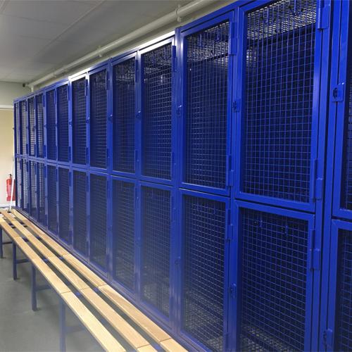 Heavy Duty Mesh Lockers on Bench Bases