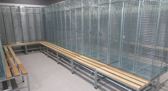 Wire Mesh Lockers on Bench Bases