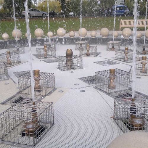 Wire Mesh Protection Cages for Fountain Water Jets