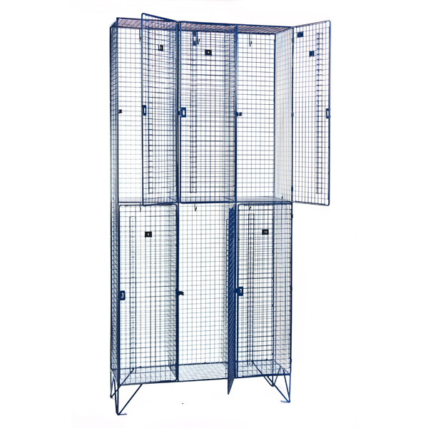 2 Door Nest of Three Wire Mesh Lockers for BBC