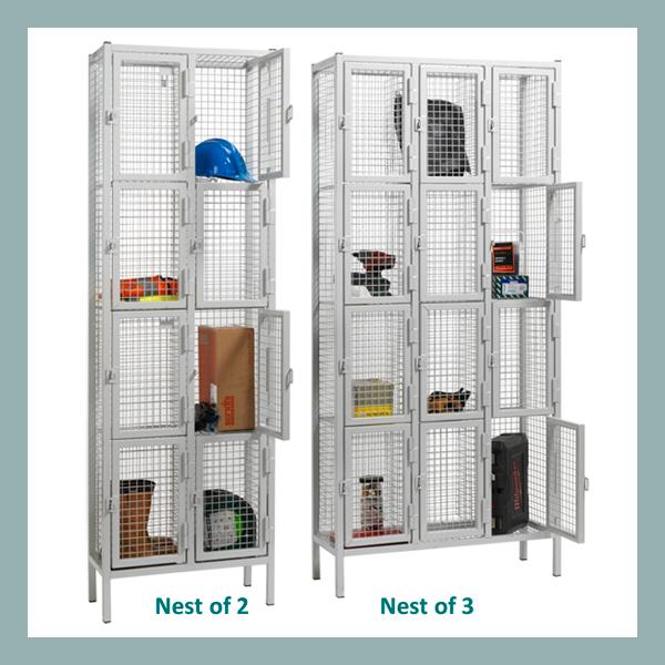 4-Door-Heavy-Duty-Wire-Mesh-Locker-Nest
