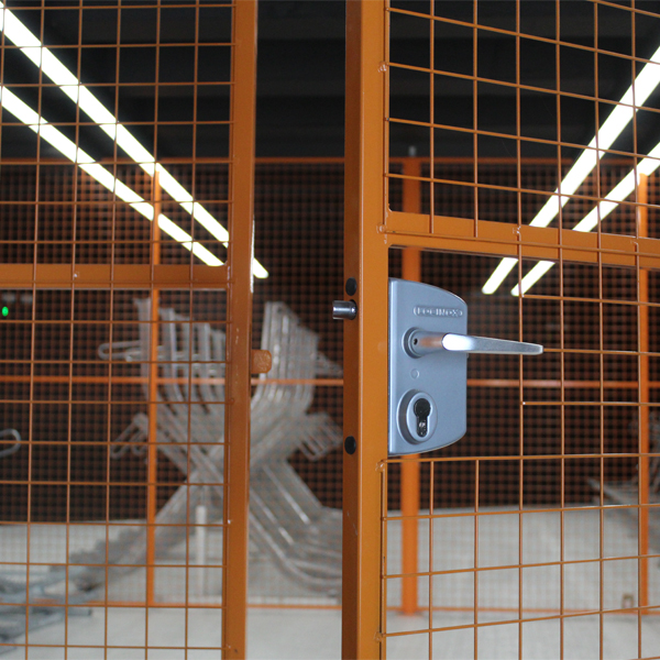 Key Lock on Wire Mesh Partitions for Hardman Square