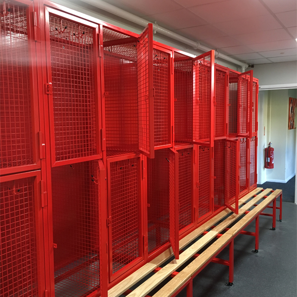 Mesh Lockers on Bench Bases Powder Coated Red