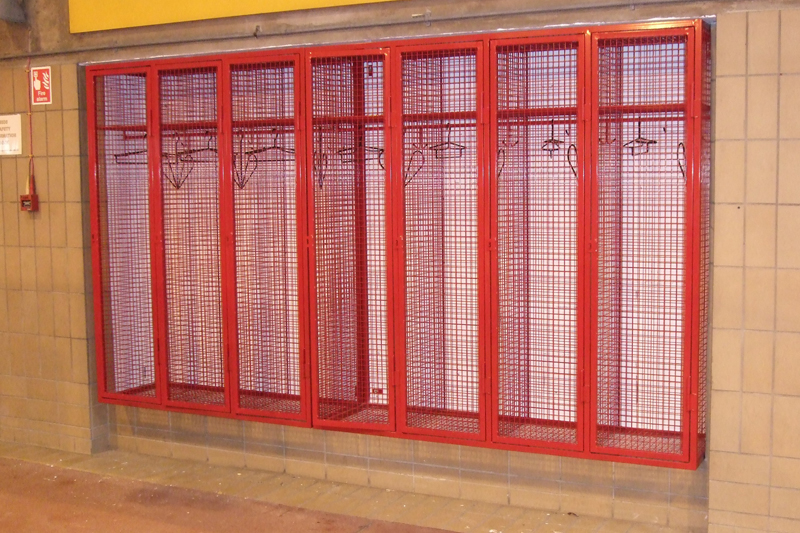 wall mounted industrial wire mesh locker for RAF Fairford