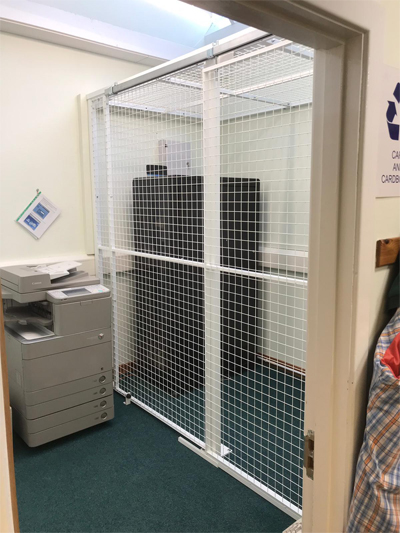 Wire Mesh Partition with Sliding Door for Office Storage